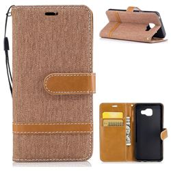 Jeans Cowboy Denim Leather Wallet Case for Samsung Galaxy A3 2016 A310 - Brown