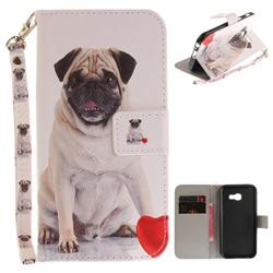 Pug Dog Hand Strap Leather Wallet Case for Samsung Galaxy A3 2017 A320