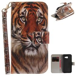 Siberian Tiger Hand Strap Leather Wallet Case for Samsung Galaxy A3 2017 A320