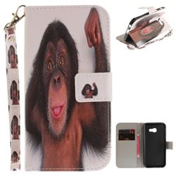 Cute Monkey Hand Strap Leather Wallet Case for Samsung Galaxy A3 2017 A320
