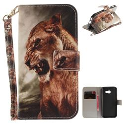 Majestic Lion Hand Strap Leather Wallet Case for Samsung Galaxy A3 2017 A320
