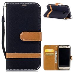 Jeans Cowboy Denim Leather Wallet Case for Samsung Galaxy A3 2017 A320 - Black