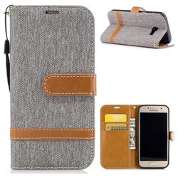 Jeans Cowboy Denim Leather Wallet Case for Samsung Galaxy A3 2017 A320 - Gray