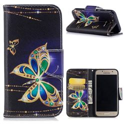 Golden Shining Butterfly Leather Wallet Case for Samsung Galaxy A3 2017 A320