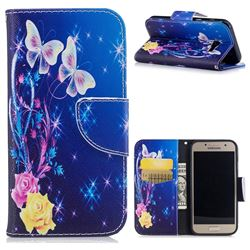 Yellow Flower Butterfly Leather Wallet Case for Samsung Galaxy A3 2017 A320