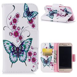 Peach Butterfly Leather Wallet Case for Samsung Galaxy A3 2017 A320