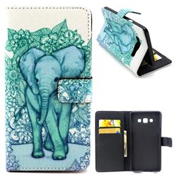 Blue Elephant Leather Wallet Case for Samsung Galaxy A5 A500 A500F A5009