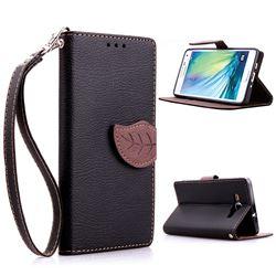 Leaf Buckle Litchi Leather Wallet Phone Case for Samsung Galaxy A5 - Black