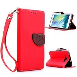 Leaf Buckle Litchi Leather Wallet Phone Case for Samsung Galaxy A5 - Red