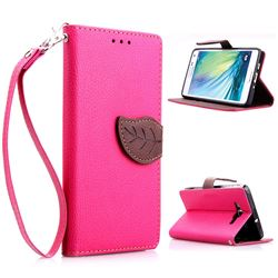 Leaf Buckle Litchi Leather Wallet Phone Case for Samsung Galaxy A5 - Rose