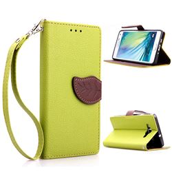 Leaf Buckle Litchi Leather Wallet Phone Case for Samsung Galaxy A5 - Green