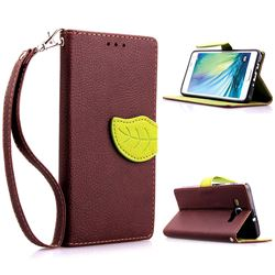 Leaf Buckle Litchi Leather Wallet Phone Case for Samsung Galaxy A5 - Brown