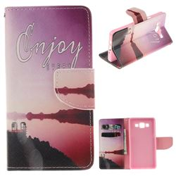Seaside Scenery PU Leather Wallet Case for Samsung Galaxy A5 2015 A500