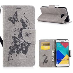Intricate Embossing Butterfly Leather Wallet Case for Samsung Galaxy A5 2016 A510 - Gray