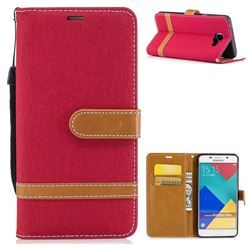 Jeans Cowboy Denim Leather Wallet Case for Samsung Galaxy A5 2016 A510 - Red