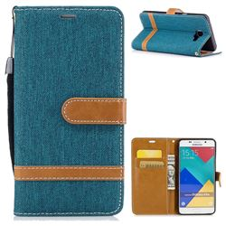 Jeans Cowboy Denim Leather Wallet Case for Samsung Galaxy A5 2016 A510 - Green