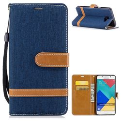 Jeans Cowboy Denim Leather Wallet Case for Samsung Galaxy A5 2016 A510 - Dark Blue