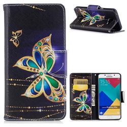 Golden Shining Butterfly Leather Wallet Case for Samsung Galaxy A5 2016 A510