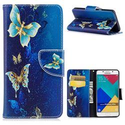 Golden Butterflies Leather Wallet Case for Samsung Galaxy A5 2016 A510
