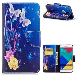 Yellow Flower Butterfly Leather Wallet Case for Samsung Galaxy A5 2016 A510