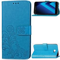 Embossing Imprint Four-Leaf Clover Leather Wallet Case for Samsung Galaxy A5 2017 A520 - Blue