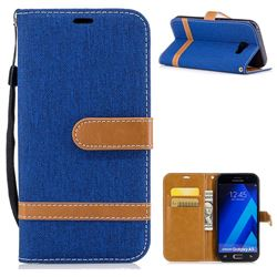 Jeans Cowboy Denim Leather Wallet Case for Samsung Galaxy A5 2017 A520 - Sapphire
