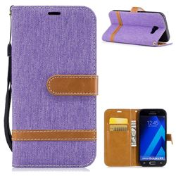 Jeans Cowboy Denim Leather Wallet Case for Samsung Galaxy A5 2017 A520 - Purple