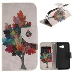 Colored Tree PU Leather Wallet Case for Samsung Galaxy A5 2017 A520