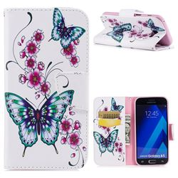 Peach Butterfly Leather Wallet Case for Samsung Galaxy A5 2017 A520