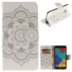 White Flowers PU Leather Wallet Case for Samsung Galaxy A7 2016 A710