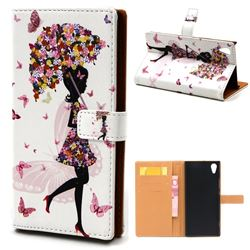Flower Umbrella Girl Leather Wallet Case for Sony Xperia XA1