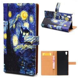 Lighthouse Painting Leather Wallet Case for Sony Xperia XA1