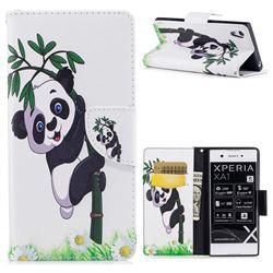 Bamboo Panda Leather Wallet Case for Sony Xperia XA1