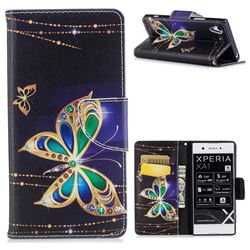 Golden Shining Butterfly Leather Wallet Case for Sony Xperia XA1