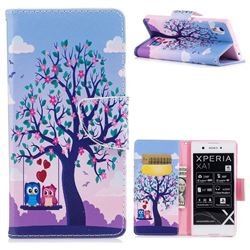 Tree and Owls Leather Wallet Case for Sony Xperia XA1