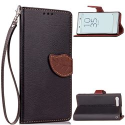 Leaf Buckle Litchi Leather Wallet Phone Case for Sony Xperia X Compact X Mini - Black