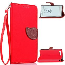 Leaf Buckle Litchi Leather Wallet Phone Case for Sony Xperia X Compact X Mini - Red