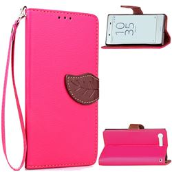 Leaf Buckle Litchi Leather Wallet Phone Case for Sony Xperia X Compact X Mini - Rose