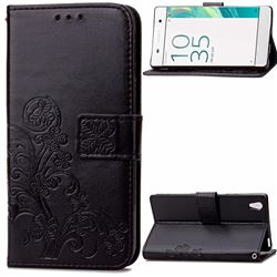Embossing Imprint Four-Leaf Clover Leather Wallet Case for Sony Xperia X Performance - Black