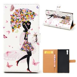 Flower Umbrella Girl Leather Wallet Case for Sony Xperia XZ / XZ Dual
