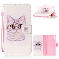 Lovely Cat Leather Wallet Phone Case for Sony Xperia XZ