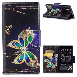 Golden Shining Butterfly Leather Wallet Case for Sony Xperia XZ