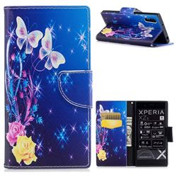 Yellow Flower Butterfly Leather Wallet Case for Sony Xperia XZ