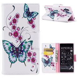 Peach Butterfly Leather Wallet Case for Sony Xperia XZ