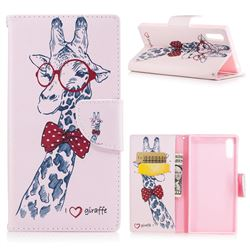 Glasses Giraffe Leather Wallet Case for Sony Xperia XZs