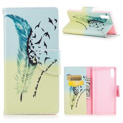 Feather Bird Leather Wallet Case for Sony Xperia XZs