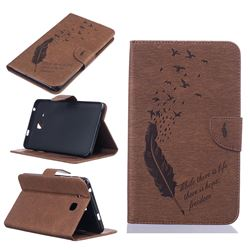 Intricate Embossing Feather Bird Leather Wallet Case for Samsung Galaxy Tab A 7.0 (2016) T280 T285 - Brown