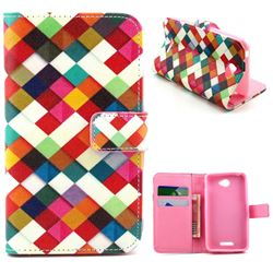 Color Plaid Leather Wallet Case for Sony Xperia E4 / E4 Dual