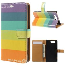 Rainbow Leather Wallet Case for Sony Xperia Z3 Compact D5803 M55w