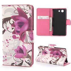 Lotus Flower Leather Wallet Case for Sony Xperia Z3 Compact Z3 Mini D5803 M55w